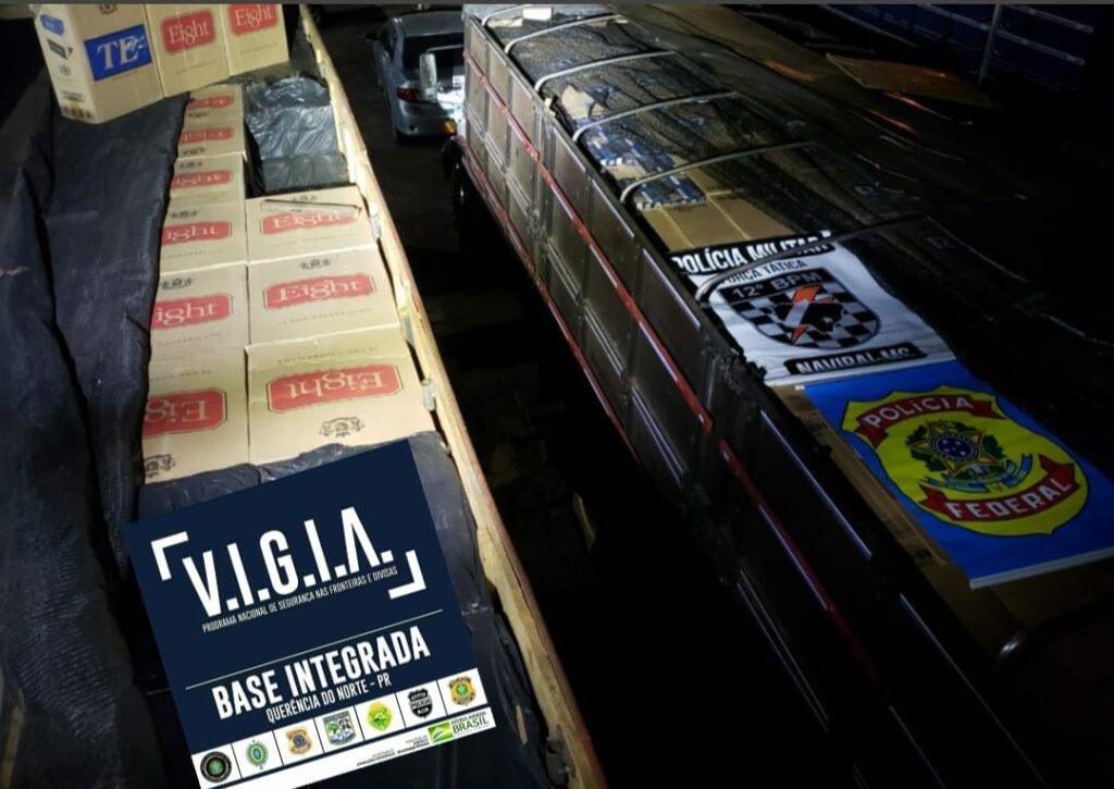 Forças de segurança apreendem dois caminhões com mil caixas de cigarros contrabandeados