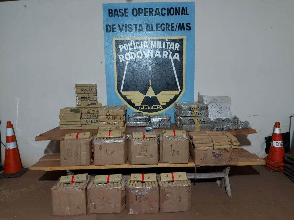 Polícia Militar Rodoviária apreende mais de meia tonelada de maconha em Maracaju