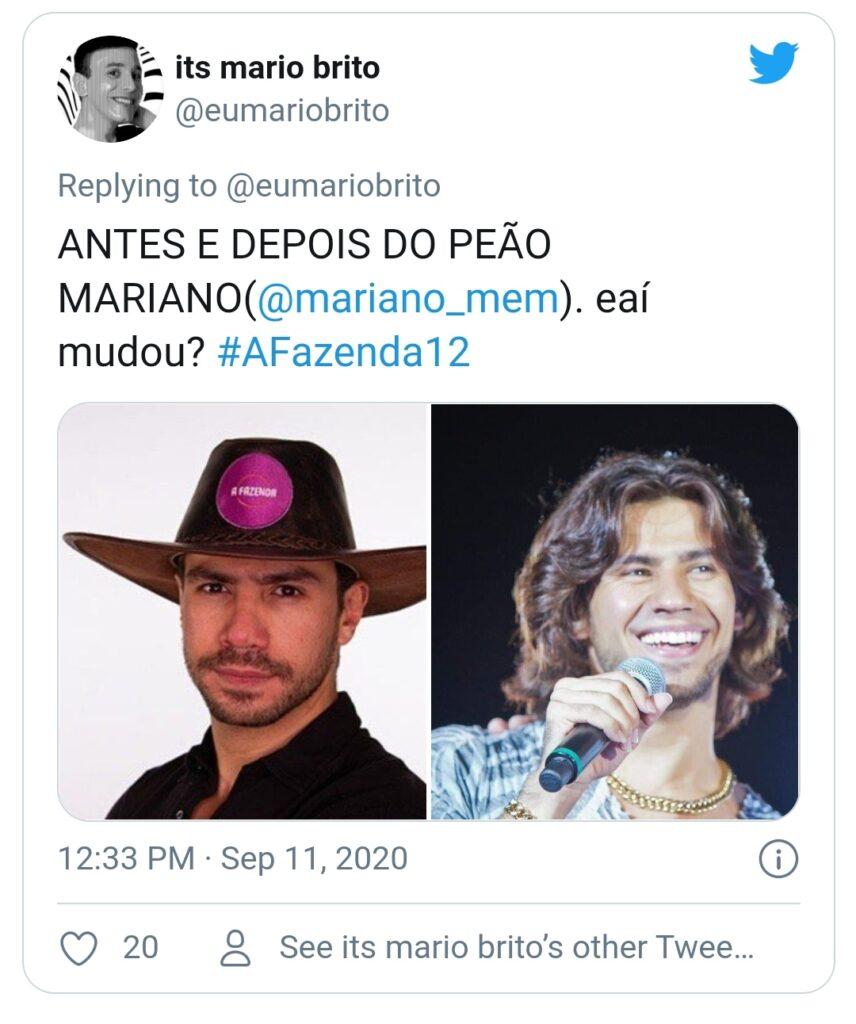 'Antes e depois' do cantor Mariano viraliza nas redes sociais
