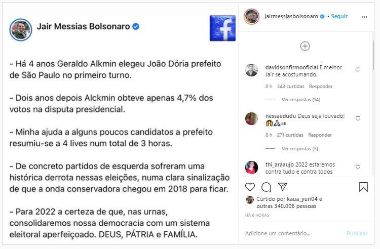 Partidos de esquerda sofreram derrota histórica, diz Bolsonaro