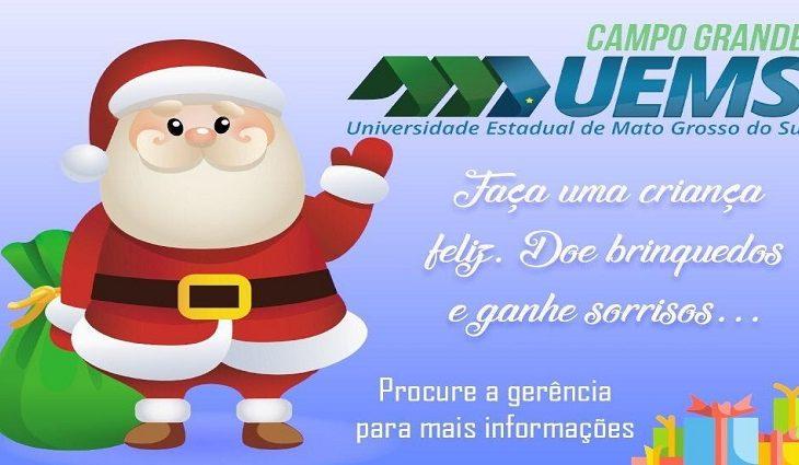 """UEMS promove pela segunda vez,Campanha de Natal """"doe brinquedos, doe sorrisos"""""""
