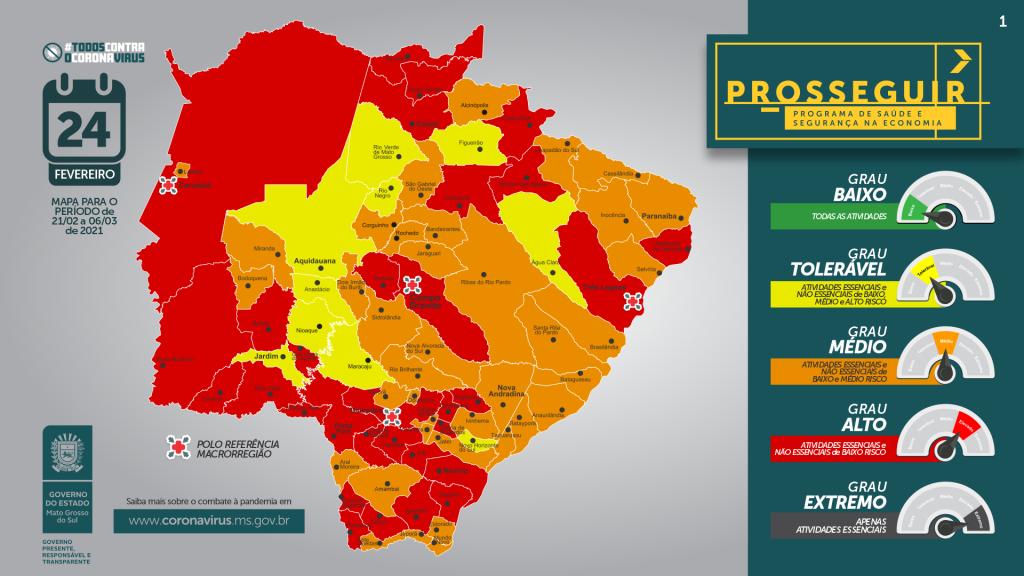 MS tem 31 municípios na bandeira vermelha, incluindo a Capital