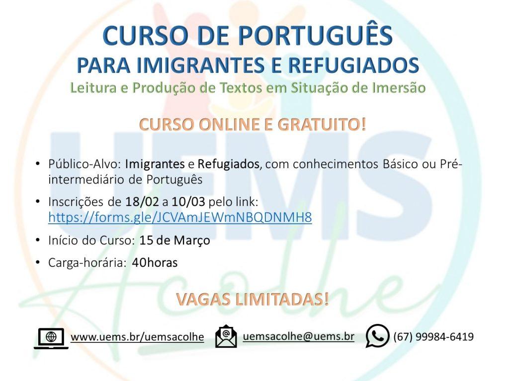 UEMS Acolhe está com inscrições abertas para curso online destinado a imigrantes e refugiados