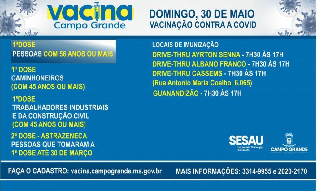 Campo Grande dá continuidade com vacinação de pessoas com 56 anos ou mais neste domingo
