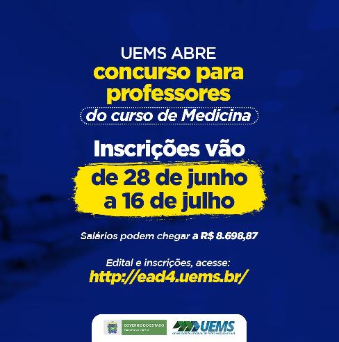 UEMS abre vagas em concurso público para professores de Medicina
