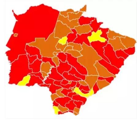Novo mapa Prosseguir retira bandeira cinza de Dourados e Capital segue com vermelha