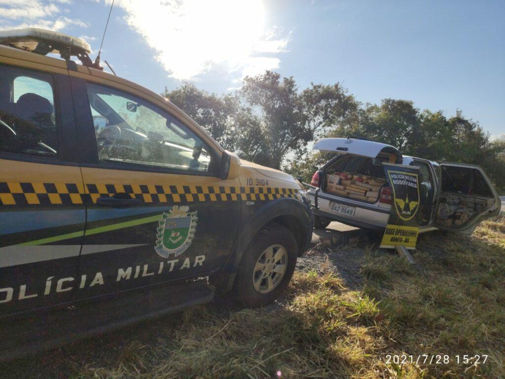 Carro lotado de drogas é apreendido pela PMR na cidade de Bonito