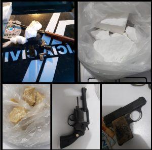 Três homens são presos com arsenal de armas e drogas no interior
