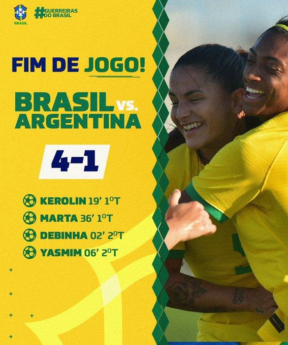 Com golaço de Marta e brilho de novata, Brasil bate Argentina de novo