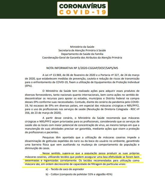 Nota Oficial divulgada pelo Ministério da Saúde indica o uso de máscaras de tecido no Brasil,como uma alternativa de segurança