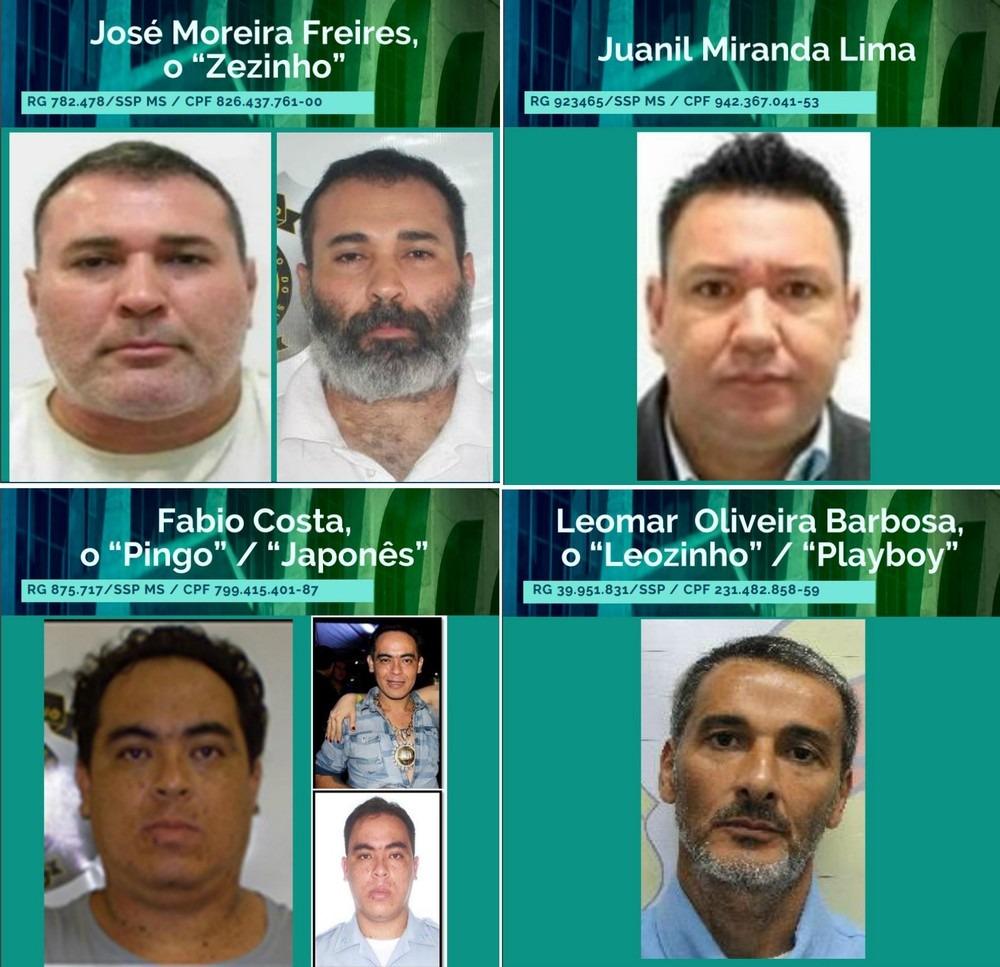 Lista dos quatro suspeitos de MS que estão incluídos na lista dos 26 mais procurados do país pelo Ministério da Justiça —  Ministério da Justiça/Divulgação