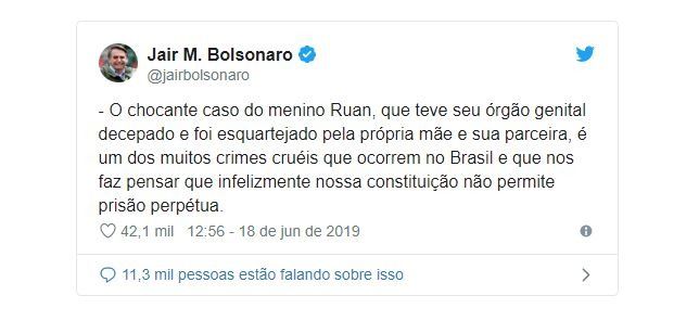 Bolsonaro defende prisão perpétua ao falar de morte de menino
